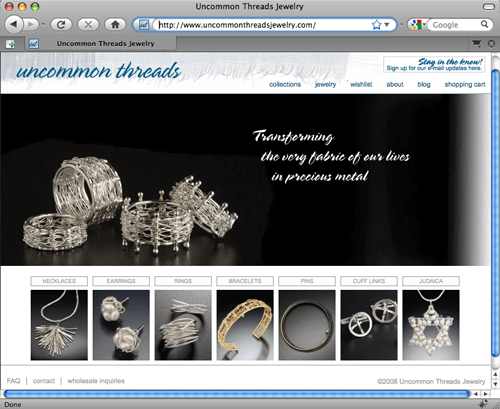 Uncommon Threads Jewerly home page